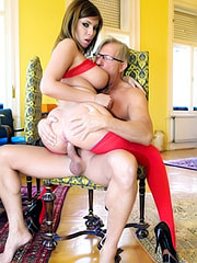 Donna Bell fucks in red lingerie