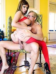 Donna Bell fucks in red lingerie