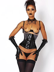 Skin Diamond poses in black corset