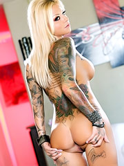 Britney Shannon shows her tattooed body