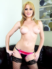 Angela Sommers is wearing fishnet stockings